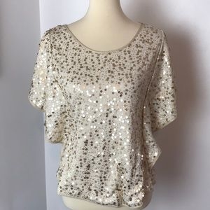 Ivory Knit Top with Gold Sequins Medium